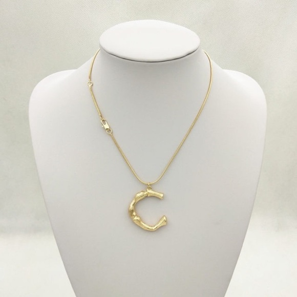 fancy fashions Jewelry - Gold bamboo initial necklace -C